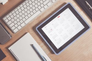The content development calendar schedules creation of useful information for installation on your website.